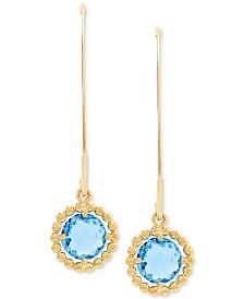 Swiss Blue Topaz Drop Earrings (1-7/8 ct. t.w) in 10k Gold