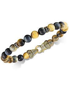 Esquire Men's Jewelry Golden Tiger's Eye Bracelet in 14k Gold Over Sterling Silver, Created for Macy's