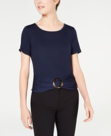 BCX Juniors' Textured Ruched O-Ring Blouse