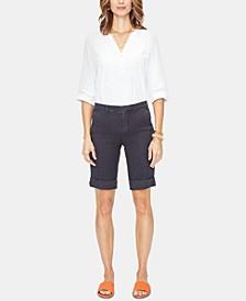 Tummy-Control Cuffed Bermuda Shorts