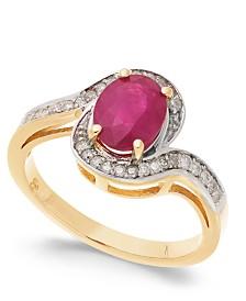 Ruby (1-1/2 ct. t.w.) & Diamond (1/6 ct. t.w.) Swirl Ring in 14k Gold