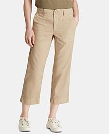 Petite Straight Cotton Twill Pants