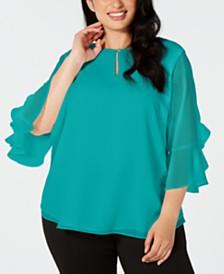 Calvin Klein Plus Size Ruffle-Sleeve Keyhole Top