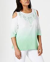 c92913ee7ea JM Collection Cotton Ombré Cold-Shoulder Top, Created for Macy's