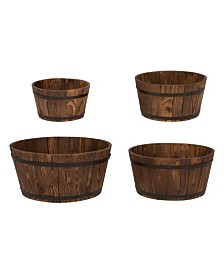 Round Shallow Cedar Barrel, Set Of 4