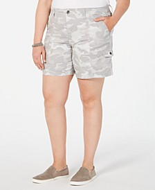 Plus Size Camo-Print Cargo Shorts, Created for Macy's