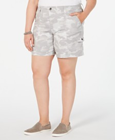 Style & Co Plus Size Camo-Print Cargo Shorts, Created for Macy's