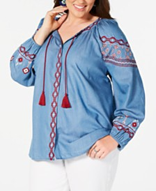 Style & Co Plus Size Embroidered Chambray Peasant Top, Created for Macy's
