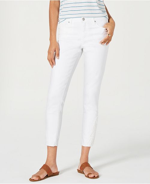 Style & Co Petite Crochet-Trim Skinny Jeans, Created for Macy's