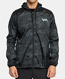 RVCA Men's Hexstop IV Quick-Dry Water-Resistant Hooded Logo Windbreaker