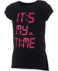 adidas Little Girls Logo-Print Vented-Hem T-Shirt