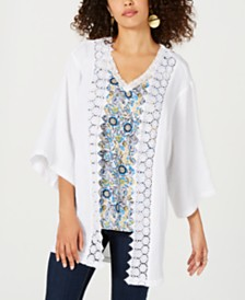 Style & Co Cotton Textured Lace-Trim Kimono, Created for Macy's