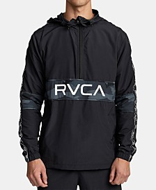 RVCA Men's Adapter Quick-Dry Weather-Resistant 1/2-Zip Logo Anorak