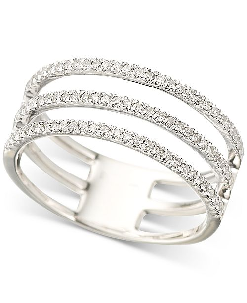 Elsie May Diamond Triple Band Stack Look Ring (1/3 ct. t.w.) in Sterling Silver