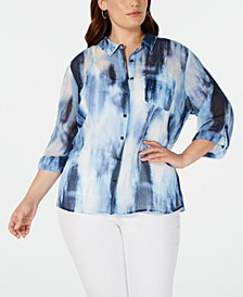 Plus Size Tie-Dyed Shirt, Created for Macy's