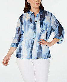 Tommy Hilfiger Plus Size Tie-Dyed Shirt, Created for Macy's