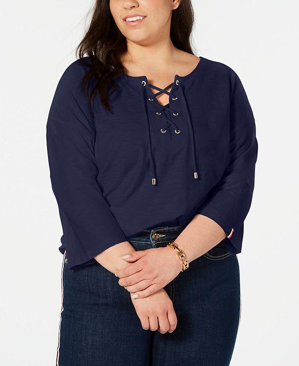 Tommy Hilfiger Plus Size Cotton Lace-Up Top