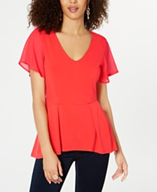 Thalia Sodi Chiffon Peplum-Hem Top, Created for Macy's