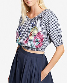 Embroidered Gingham Off-The-Shoulder Top