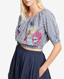 French Connection Embroidered Gingham Off-The-Shoulder Top