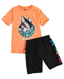 Hurley Big Boys One And Only Shark Shanty T-Shirt & Logo Swim Trunks