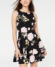 Say Yes To The Dress Juniors' Tiered Open-Back Fit & Flare Dress, Created for Macy's