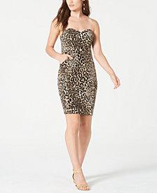B Darlin Juniors' Strapless Animal-Print Dress, Created for Macy's