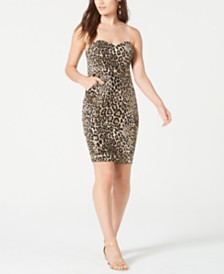 B Darlin Juniors' Strapless Animal-Print Dress, Created for Macy's