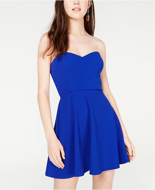 B Darlin Juniors' Cutout Strapless Fit & Flare Dress, Created for Macy's
