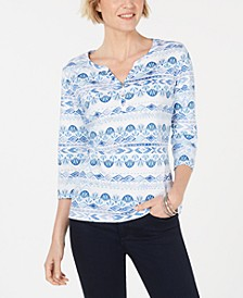 Geo-Print 3/4-Sleeve Top, Created for Macy's