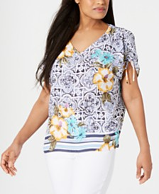 JM Collection Printed Ruched-Sleeve Top, Created for Macy's