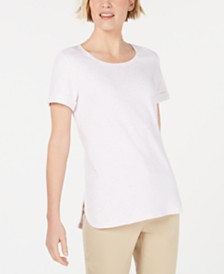 Karen Scott Shirttail-Hem Short Sleeve Top, Created for Macy's