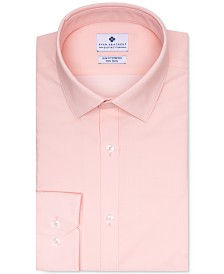 Ryan Seacrest Distinction Men's Ultimate Slim-Fit Stretch Moisture-Wicking Non-Iron Light Orange Dot Dobby Dress Shirt, Created for Macy's