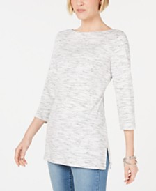 Karen Scott Boat-Neck Space-Dyed Top, Created for Macy's