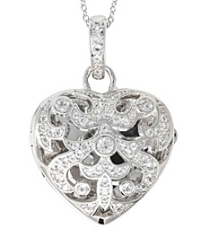 Deirdre White Topaz (1 ct. t.w.) Heart Photo Locket Necklace in Sterling Silver