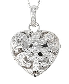 With You Lockets Deirdre White Topaz (1 ct. t.w.) Heart Photo Locket Necklace in Sterling Silver