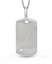 With You Lockets Annie Dog Tag Photo Locket Necklace with White Topaz Accent in Sterling Silver
