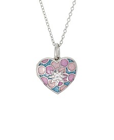 With You Lockets Amara Enamel and White Topaz (1/30 ct. t.w.) Photo Locket Necklace in Sterling Silver