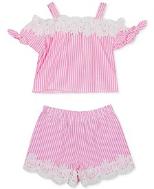 Rare Editions Baby Girls 2-Pc. Floral Lace Seersucker Top & Shorts Set