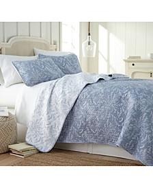 Lightweight Reversible Floral Quilt and Sham Set, Full/Queen