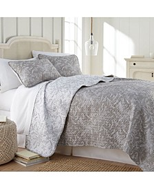 Lightweight Reversible Floral Quilt and Sham Set, King/California King