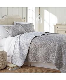 Lightweight Reversible Floral Quilt and Sham Set