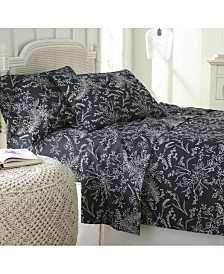 Southshore Fine Linens Winter Brush Floral Printed 4 Piece Sheet Set, California King
