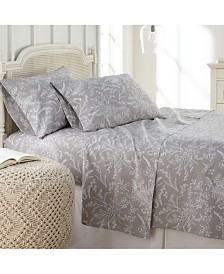 Southshore Fine Linens Winter Brush Floral Printed 4 Piece Sheet Set, Twin