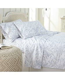 Southshore Fine Linens Winter Brush Floral Printed 4 Piece Sheet Set, Queen