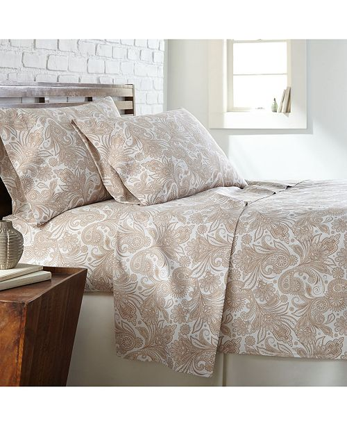 Southshore Fine Linens Perfect Paisley deep, Pocket Boho Sheet Set, California King