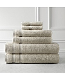 Generously Sized Classic Solid Color 6-Piece Cotton Towel Set