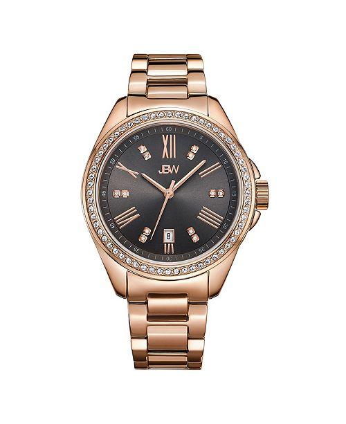 Jbw Women's Capri Diamond (1/8 ct.t.w.) 18K Rose Gold Plated Stainless Steel Watch