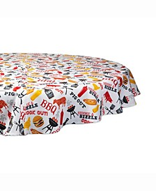"""BBQ Fun Print Outdoor Table cloth with Zipper 60"""" Round"""
