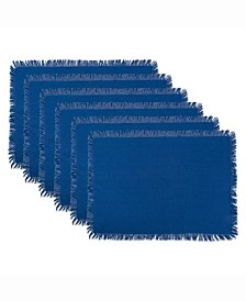 Solid Navy Heavyweight Fringed Placemat Set of 6
